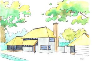 Schets modern landhuis in Oosterhout